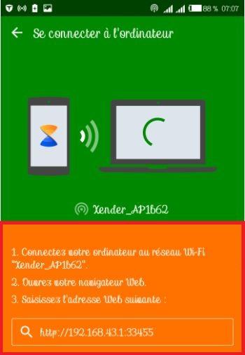 xender, partager les fichiers entre un android et un PC