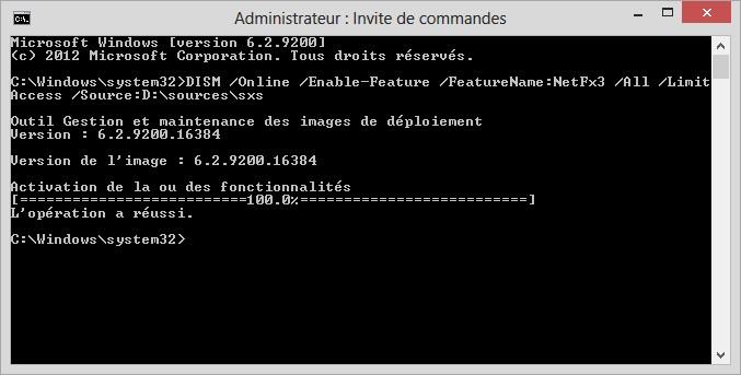 Microsoft Net Framework sous windows 10